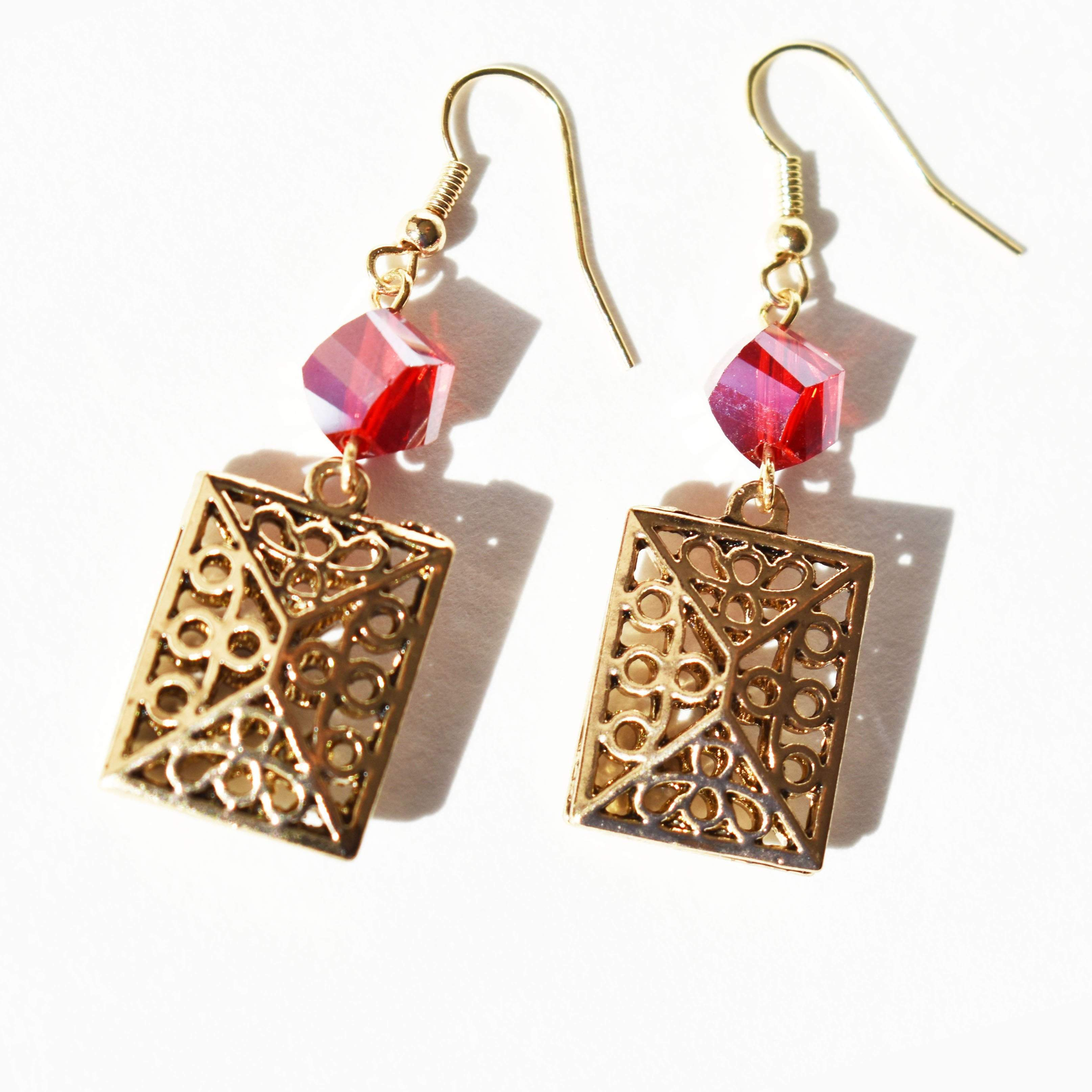 "Earrings - ""Antique Gold"" & ""Ruby"" Drop Earrings"