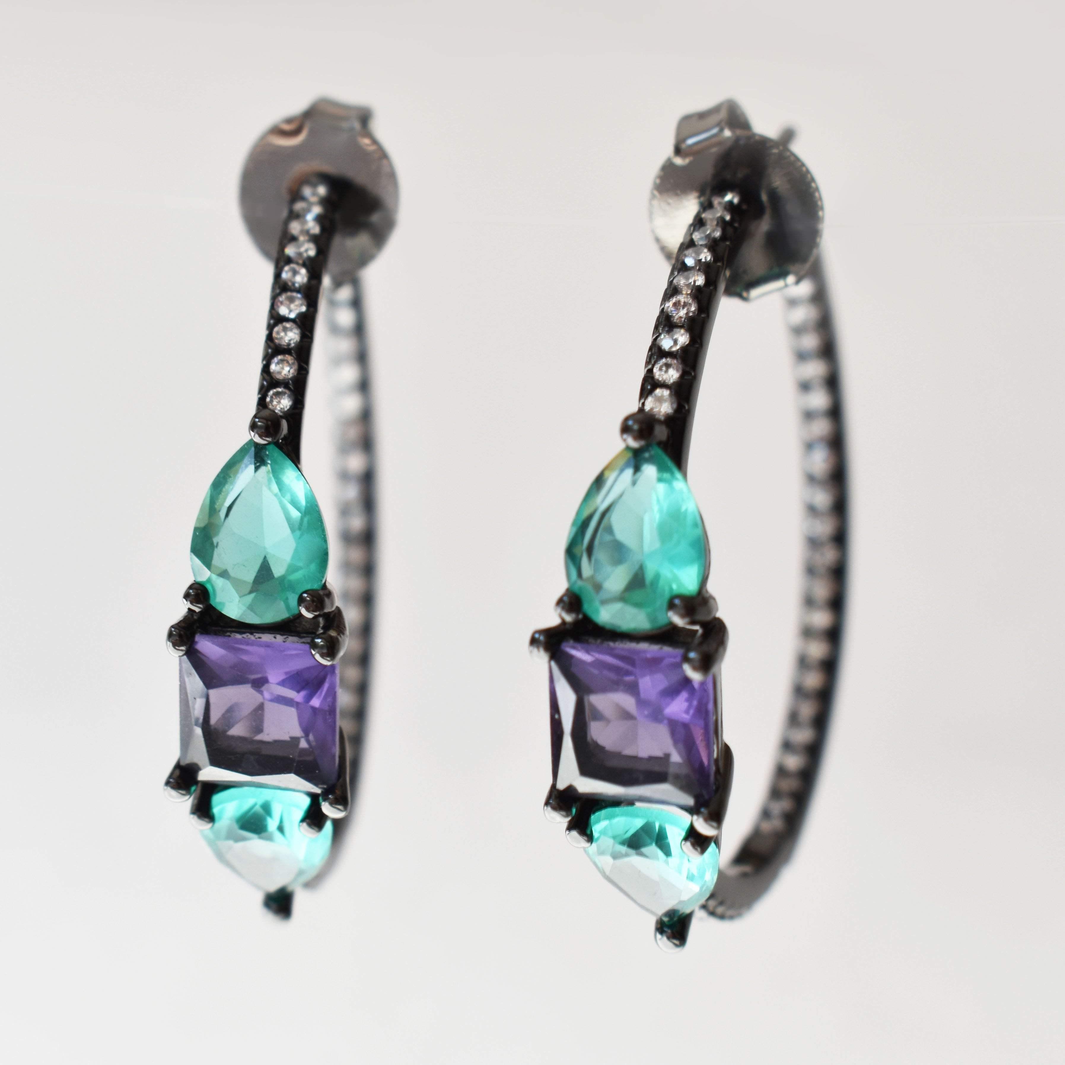 Earrings - Cubic Zirconium, Teal, Purple & Clear, Luxury Hoop Earrings
