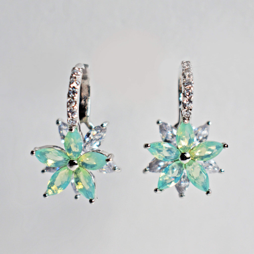 Earrings - Double Crystal, Flower Earrings, Cubic Zirconium And Gold-Plating