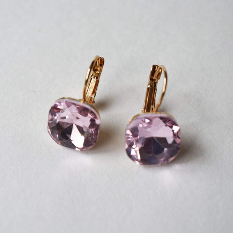Earrings - Fashion Gold Color Square, Austrian Crystal Rhinestone -Varieties: Purple, Pink, Green, Khaki