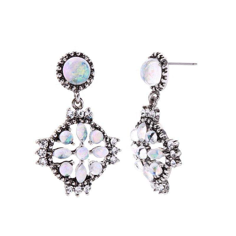 "Earrings - Geometric Flower, ""Opal""  & ""Vintage Silver"" Drop Earrings"