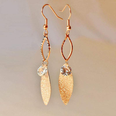 Earrings - Rose Gold Tone, Stainless Steel Leaf And Rhinestone Earrings