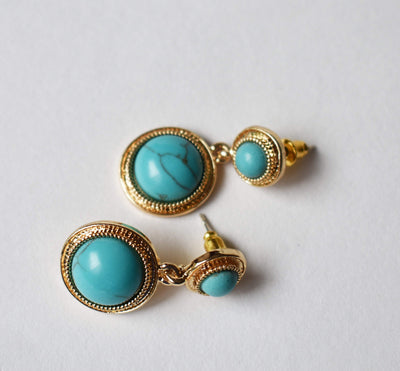Earrings - Turquoise & Gold Tone Earrings