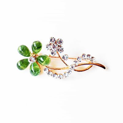 "Flower Brooch, ""Gold"" Color-plated Appearance, Metal Alloy, Green Stone, Clear Rhinestones"