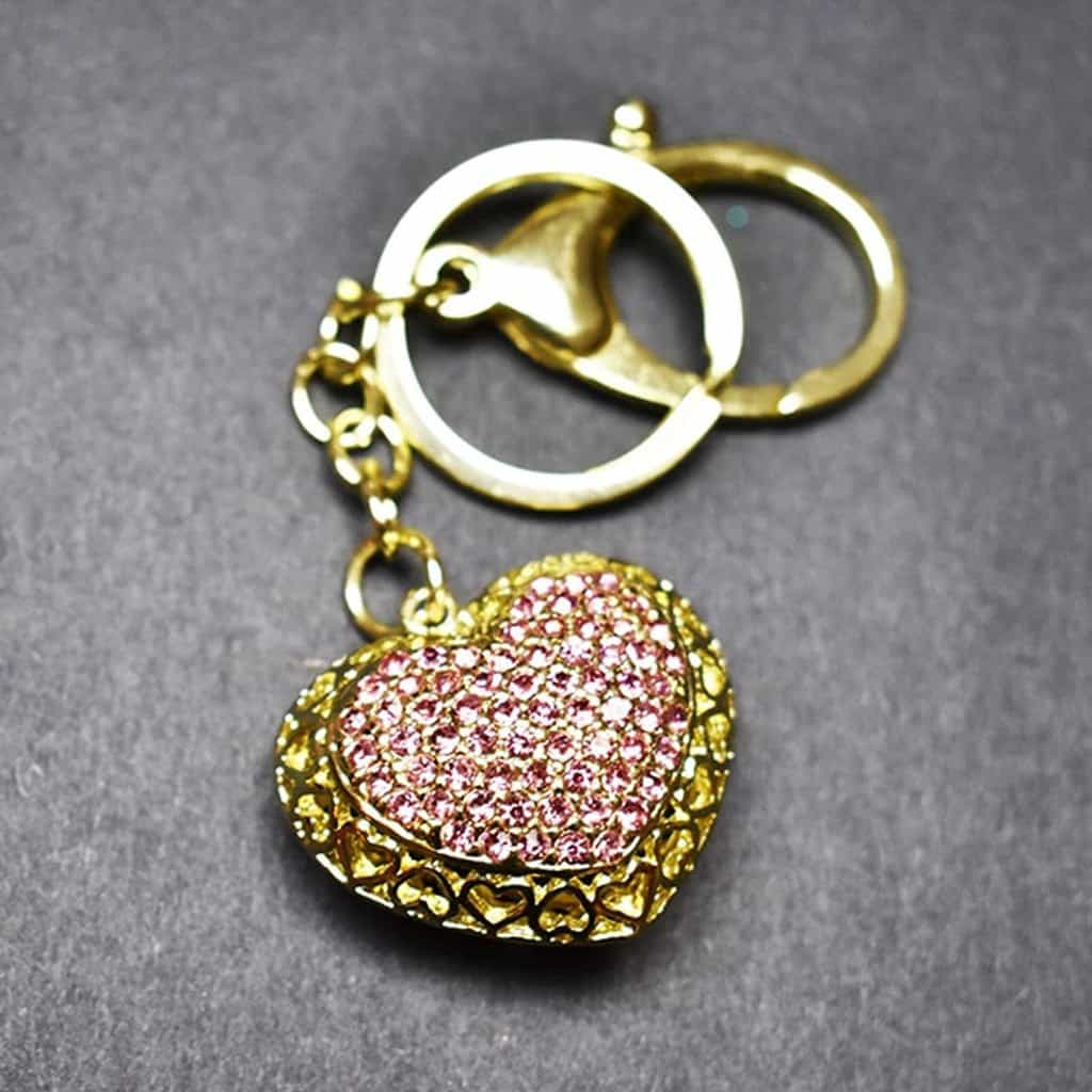 Keychain - Heart Keychain, 14ct Gold Tone, Light Pink Rhinestones -  Jamagrasha Custom Item