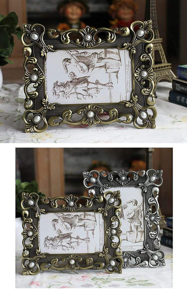 Picture Frames - Retro, Vintage Style, Antique Bronze Or Antique Silver Colors, Metal Photo Picture Frame, Table Decoration 6-inch Family Or Wedding, SHIPPING 2-3 WEEKS