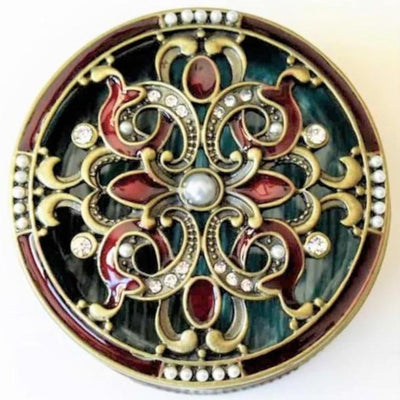 "Ring Holder - RING HOLDER ""Antique Bronze"" Metal Trinket Box, Burgundy Enamel, Clear Rhinestones & Pearls, Ring Holder"