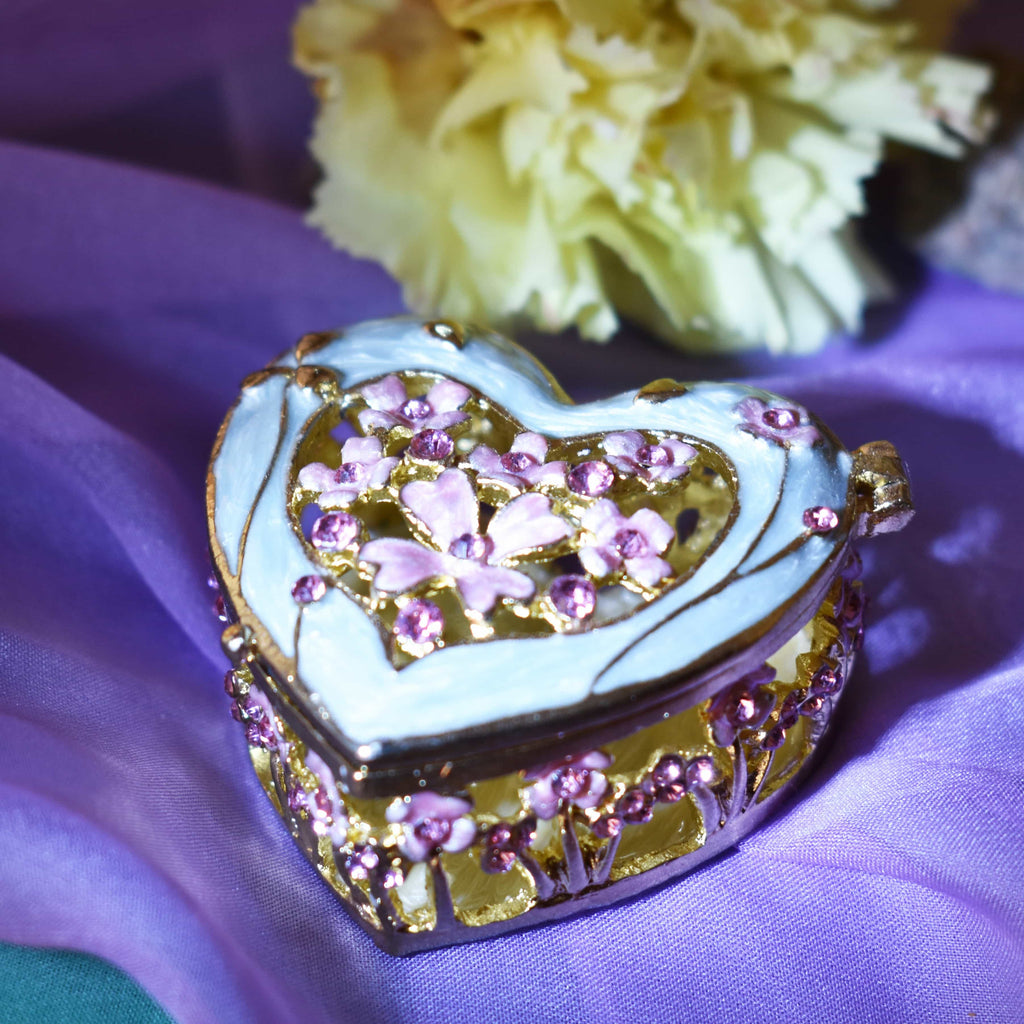 "Ring Holder - RING HOLDER, Floral Heart, Metal Trinket Box, ""Glossy Gold"", Pink & Light Blue, Ring Holder"