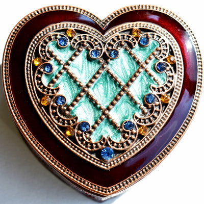 "Ring Holder - RING HOLDER, Heart-Shaped, ""Antique Copper"" Burgundy & Green Enamel, Rhinestones, Ring Holder"