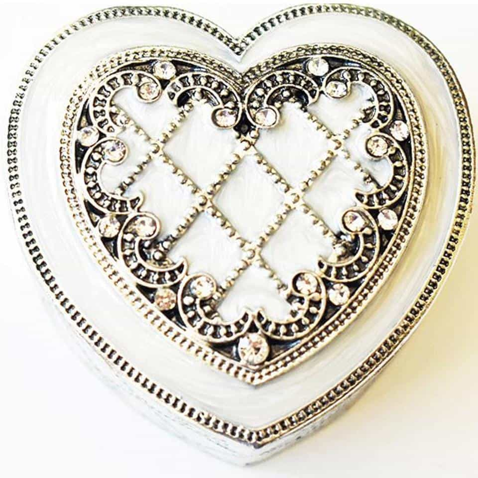 "Ring Holder - RING HOLDER, Heart-Shaped, ""Antique-Silver"", Pearly-White Enamel, Clear Rhinestones, Ring Holder"