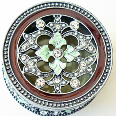"RING HOLDER, ""Vintage Pewter"" Metal Trinket Box, Sepia & Light Green Enamel, Clear Rhinestones, Ring Holder"