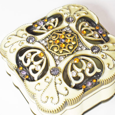 "Trinket Box - ""Antique Bronze"" Lavender Crystals, Cream Enamel, Trinket Box- Jamagrasha Customized Item"