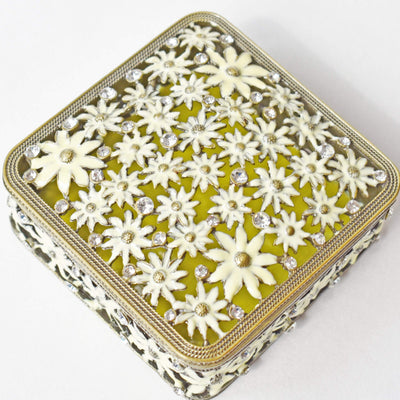 "Trinket Box - ""Antique Bronze"" /Yellow, Square, Enamel & Rhinestone, Trinket Box- Jamagrasha Customized Item"