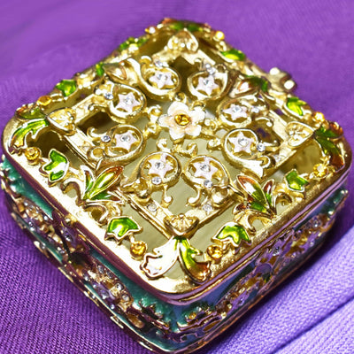 "Trinket Box - Floral Decorative, ""Rich, Matt Gold"", Green, Light Pink, Amber, Enamel And Rhinestones, Trinket Box, Small"