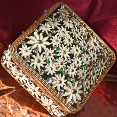 "Trinket Box - ""Gold/Green"" Daisy Square, Enamel & Rhinestones, Trinket Box- Jamagrasha Customized Item"