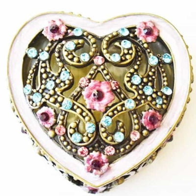 "Trinket Box - Heart & Floral, ""Antique Brass"" Pink & Blue, Trinket Box, Small"