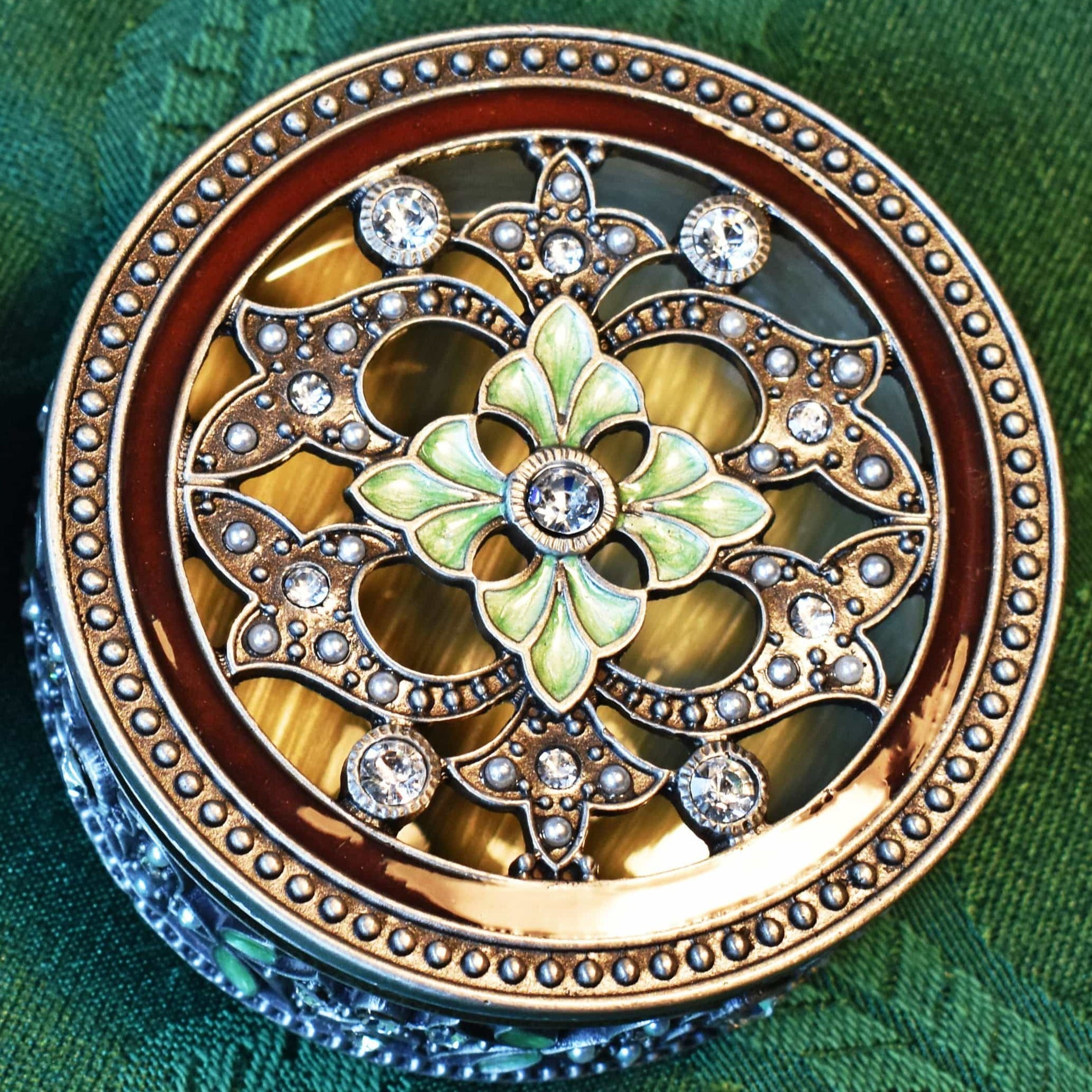 "Trinket Box - MEDIUM, ""Vintage Pewter"" Sepia & Light Green Enamel, Trinket Box, MEDIUM-  Jamagrasha Customized Item"