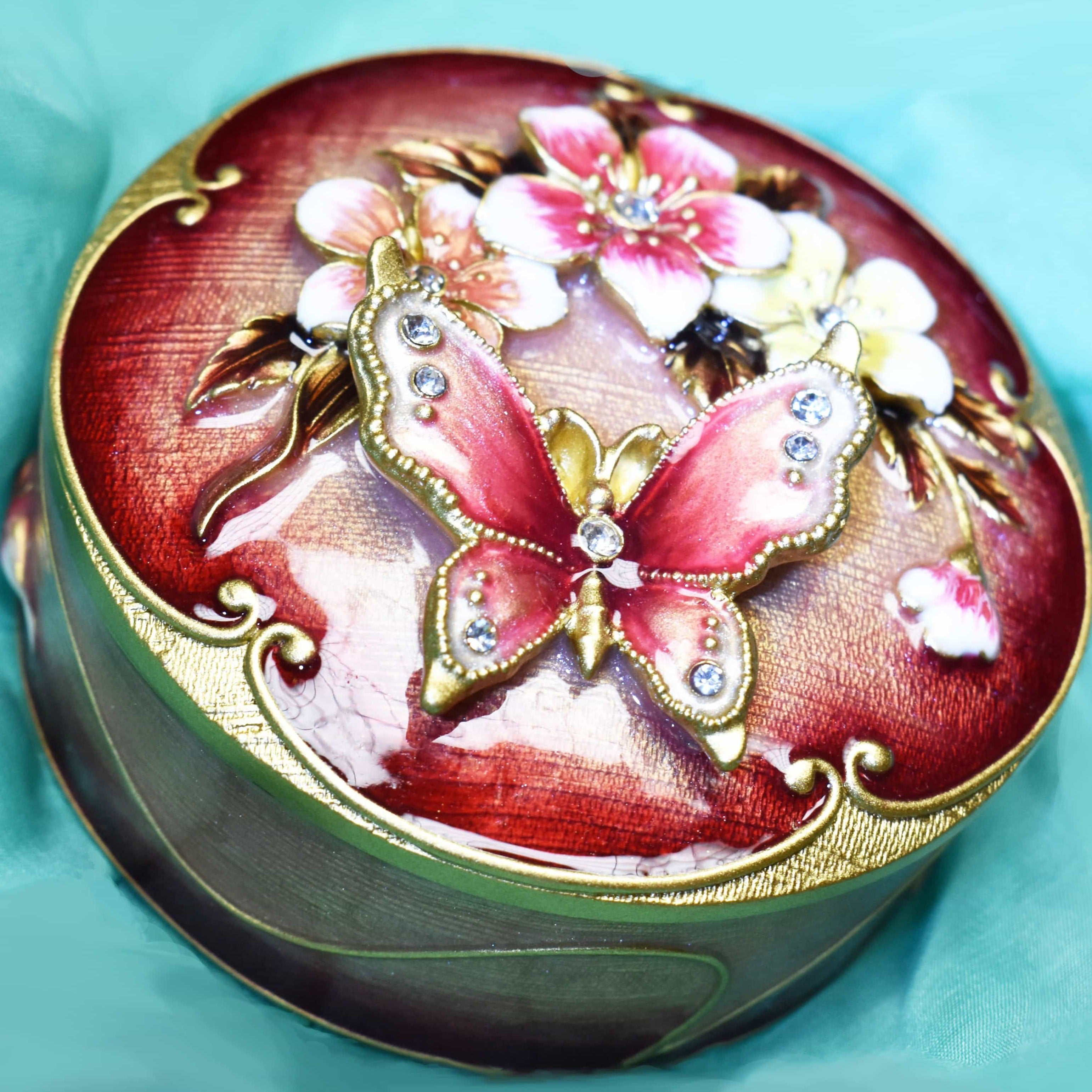 Trinket Box - Round Trinket Box With Metal Butterfly, Burgundy & Gold, With Clear Rhinestones, Trinket Box