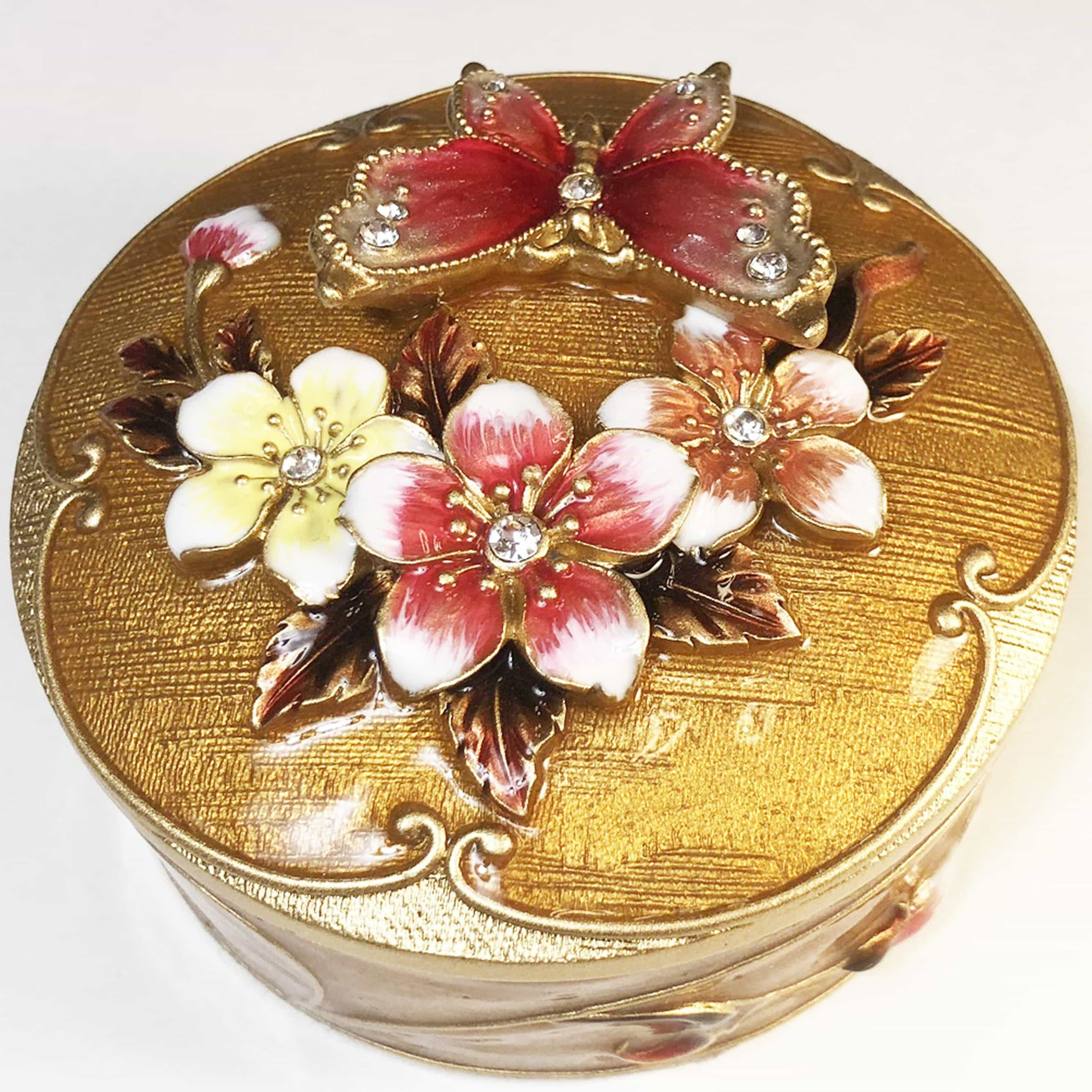 Trinket Box - Round Trinket Box, With Metal Butterfly, Golden Brown With Gold And Clear Rhinestones,Trinket Box
