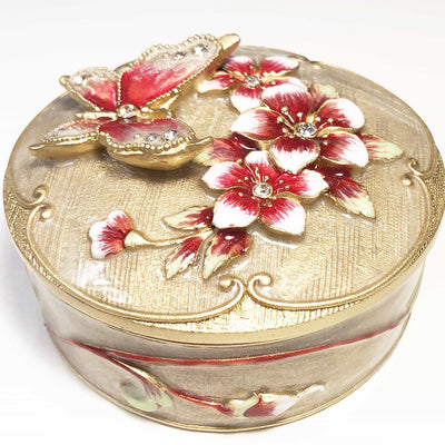 Trinket Box - Round Trinket Box, With Metal Butterfly, Metallic Oat & Gold With Clear Rhinestones, Trinket Box,