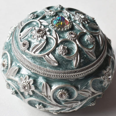 "Trinket Box - ""Silver"" & Pearlized Green Enamel, Trinket Box, Medium - Jamagrasha Customized Item"