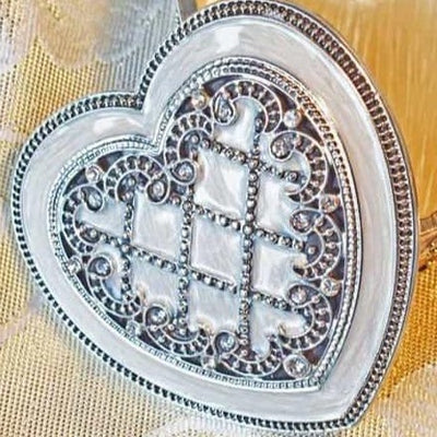 "Trinket Box - SMALL, Heart-Shaped, ""Antique-Silver"", Pearly-White Enamel, Clear Rhinestones, Trinket Box, SMALL"
