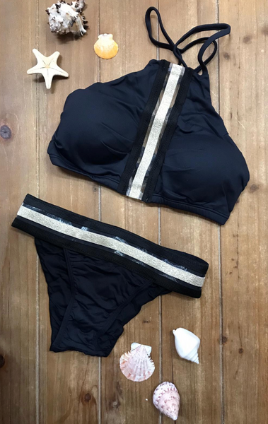Bikini Cropped with golden elastic