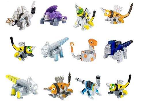 Dinotrux Reptool Rollers (12 Pack) Revvit, Click-Clack, Frightened Click-Clack, Otto Wrenches, Towaconstrictor, Ace, Wrenchtools, Skrap-It, Tortool, & Grouter Rolling Vehicles Great Cake Toppers