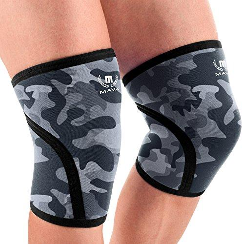 Mava Sports Knee Compression Sleeve Support for Men and Women with Perfect 7mm Neoprene Material for Powerlifting, Weightlifting, Body Building, Gym Workout, WOD and Squats (Camo Grey, Small)