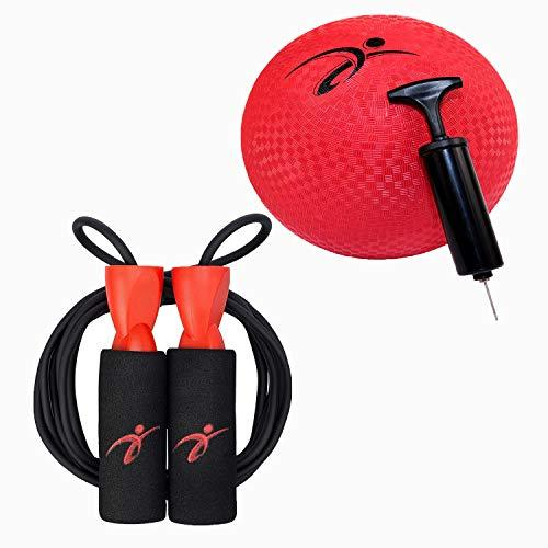Fitness Factor Playground Kickball with Air Pump and Adjustable Jump Rope with Carrying Pouch for Men and Women - Tangle-Free Skipping Rope