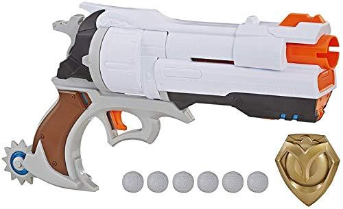 NERF Overwatch McCree Rival Blaster with Die Cast Badge & 6 Overwatch Rival Rounds-WishfulMarket