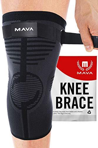 Knee Compression Sleeve Support with Adjustable Strap - Black, Medium-WishfulMarket