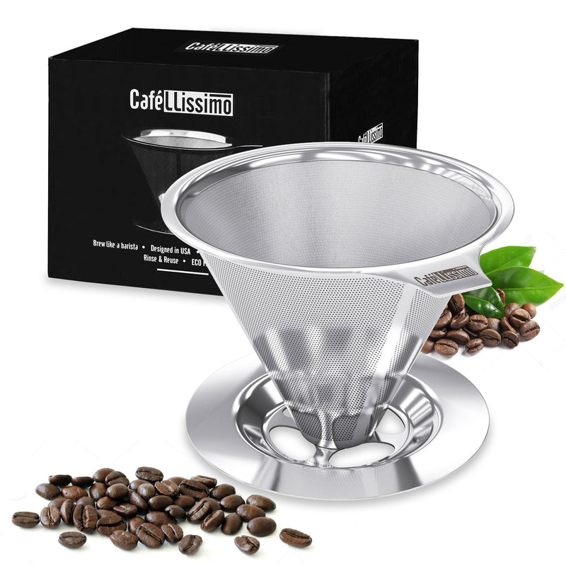 CAFELLISSIMO PAPERLESS POUR OVER COFFEE DRIPPER - STAINLESS STEEL