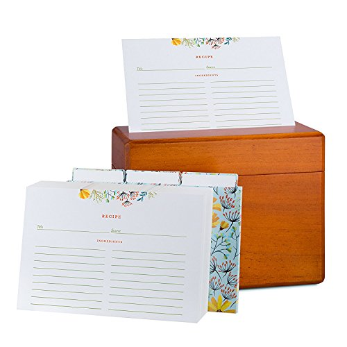 Fresh & Lucky Recipe Box with 100 Recipe Cards - 4x6 Recipe Cards with Dividers - Floral Recipe Cards with Gold Border