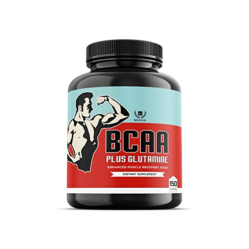 Mava BCAA + Glutamine, Highest Capsule Dose That Supports Muscle Recovery, Training Endurance and aids Muscle Soreness with Branched Chain Amino Acids & Optimal 2:1:1 Ratio for All Genders