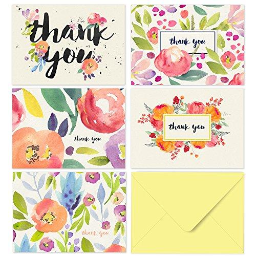 Thank You Cards with Envelopes: Floral Watercolor w/ Yellow Envelopes-WishfulMarket