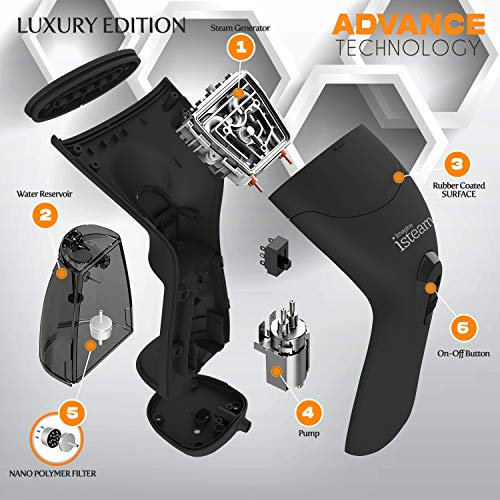 iSteam Steamer for Clothes [Luxury Edition] Powerful Dry Steam. Multi-Task: Fabric Wrinkle Remover- Clean- Refresh. Handheld Clothing Accessory. for All Kind of Garments. Home/Travel [MS208 Black]