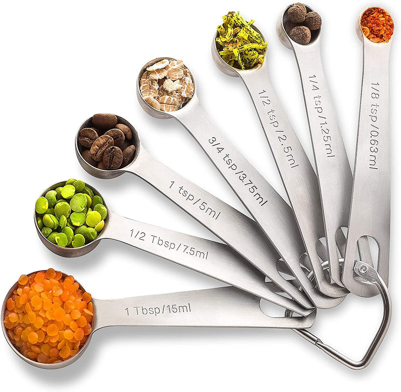 PALADA Stainless Set of 7- Mini Measuring spoons to 1/8 Metal Teaspoon Set-WishfulMarket