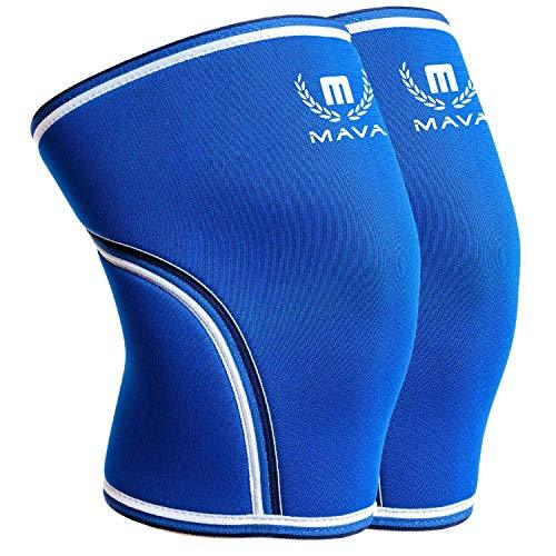 Mava Sports Knee Compression Sleeve Support for Men and Women with Perfect 7mm Neoprene Material for Powerlifting, Weightlifting, Body Building, Gym Workout, WOD and Squats (Blue, X-Large)