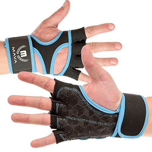 Mava Sports Workout Gloves with Integrated Wrist Wraps Support and Full Palm Silicone Padding- Perfect for Weight Lifting, Powerlifting, Pull Ups, WOD and Cross Training for Men and(Light Blue, Large)