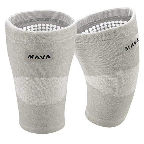 Mava Sports Reflexology Knee Compression Sleeve for Men and Women - Effective Support for Joint Pain, Arthritis Relief, Recovery and Blood Circulation - Great for Running and Walking (Grey,Medium)