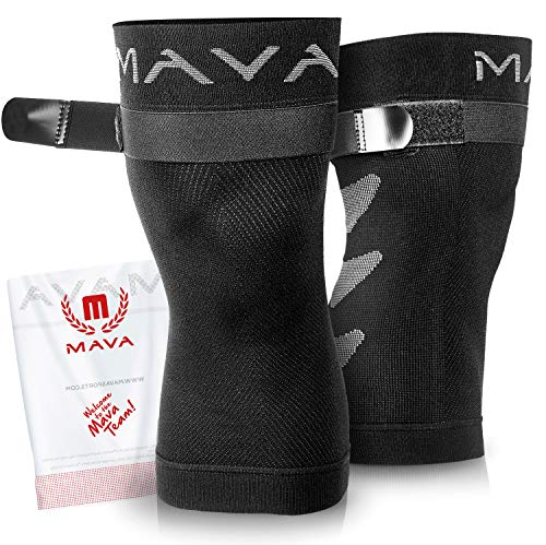 Mava Sports Knee Compression Sleeve Support with Adjustable Strap for Men and Women - Perfect for Joint Pain, Weightlifting, Running, Gym Workout, Squats and Arthritis Relief (Black, Medium)