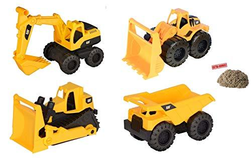 Tough Tracks Caterpillar CAT Construction Set Includes Loader, Dump Truck, Excavator, & Bulldozer (4 Pack) with Bonus Kinetic Play Sand