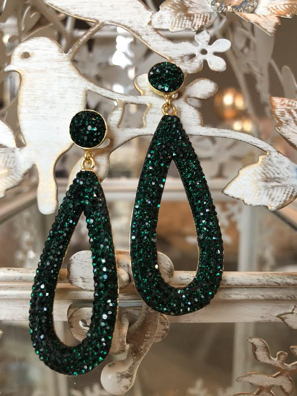 EMERALD CUBIC EARRINGS