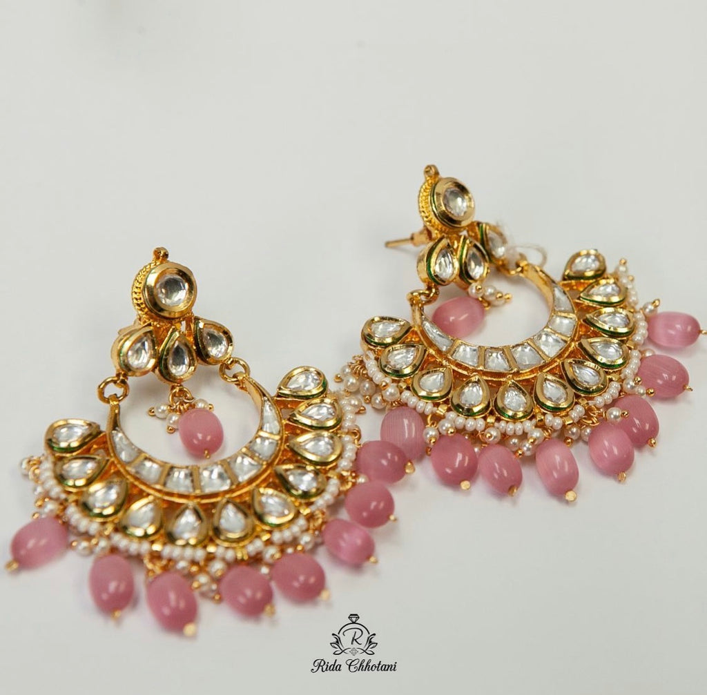 Pink traditional earrings