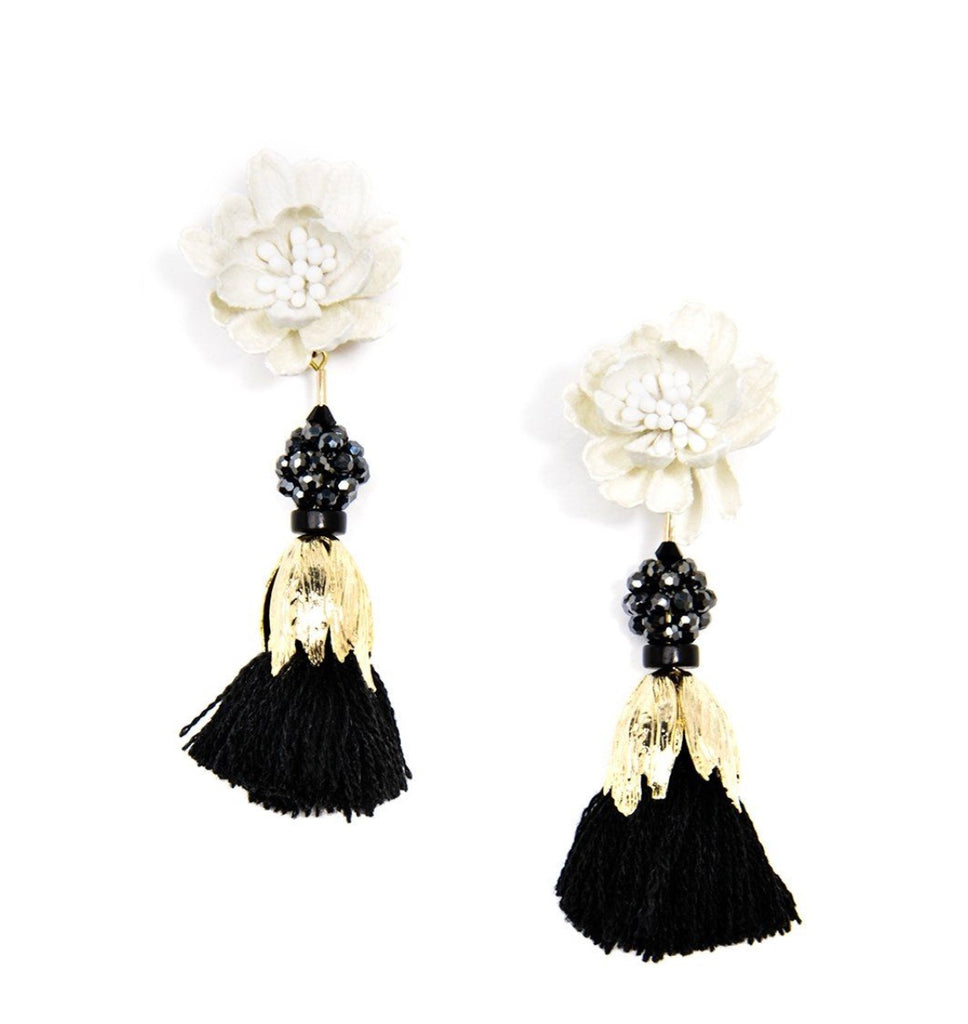 FLORAL FRINGE BLACK AND WHITE