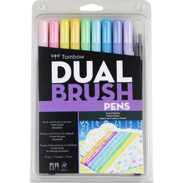 Tombow Dual Brush Markers 10/Pkg--Pastel Palette - A Plus Craft
