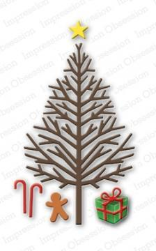 Impression Obsession dies Bare Christmas Tree - A Plus Craft