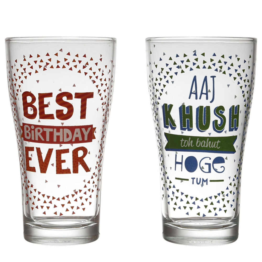 Birthday Beer Glasses set of 2 (360ml Each)