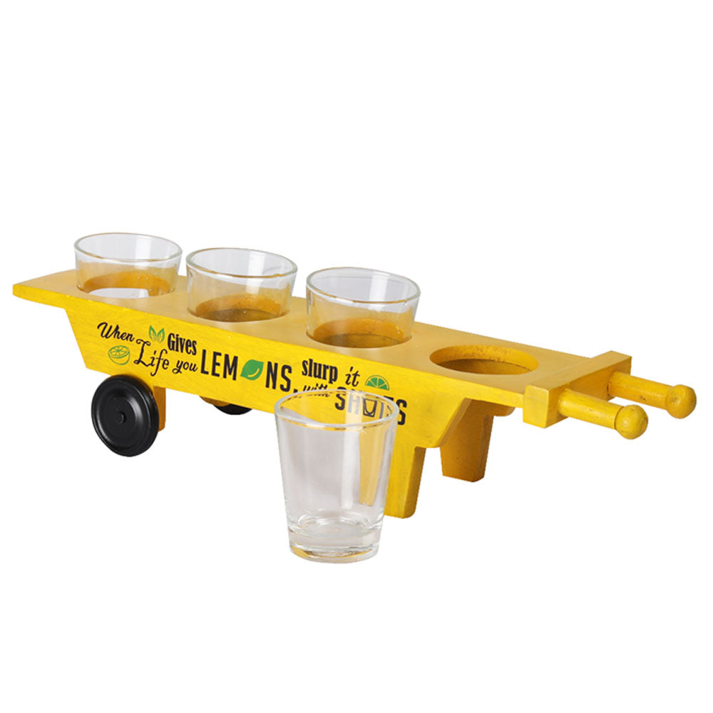 Haath Gadi Shot Glass Holder with 4 glasses